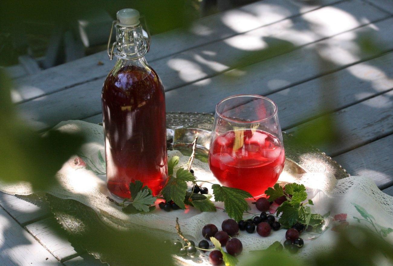 Sur krusbärs och svarta vinbärssaft